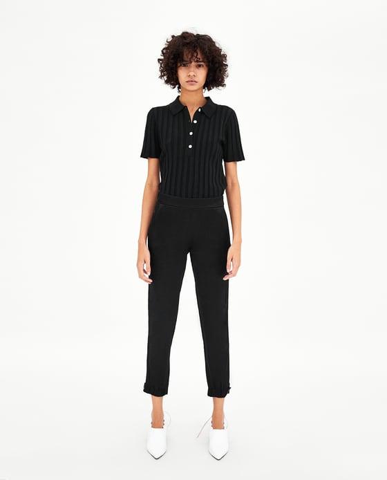 Zara Pantaloni a vita media con elastico in vita e sull'orlo. Tasche laterali. EUR 19,99