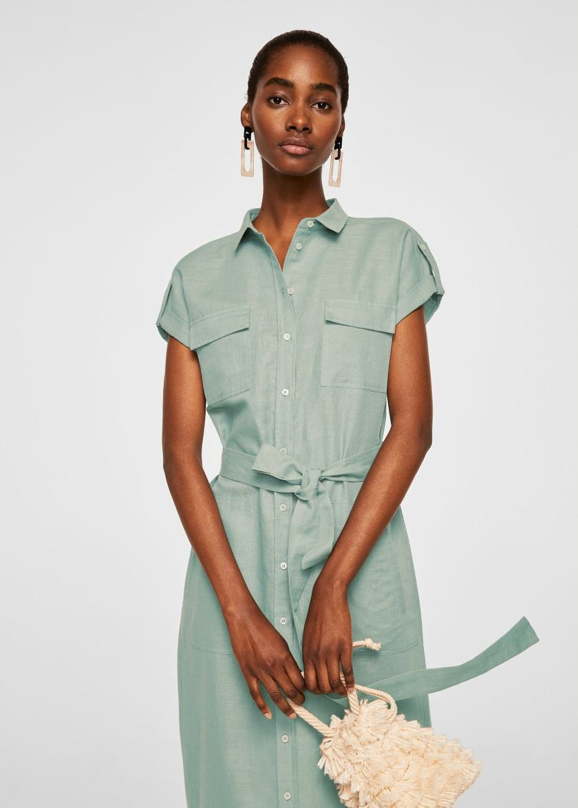 vestito in lino con cintura di Mango Outlet