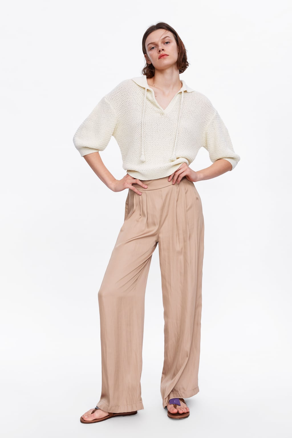 pantaloni ampi satinati di zara